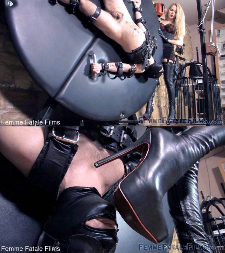 Femme Fatale Films: February 11, 2021 – Mistress Eleise De Lacy, Slave W/Lick & Spin – Leather Cuffs