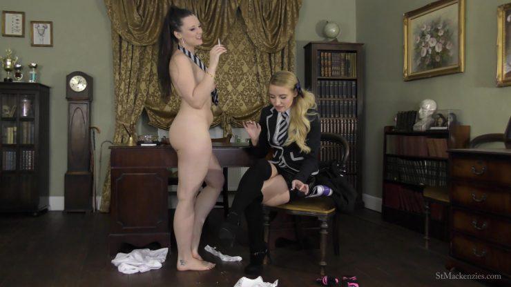 St Mackenzie's Essie Gilligan & Ivy Rain: Mean School Girl Essie Makes Ivy Strip For Drags On Her Cigarette – SMOKING