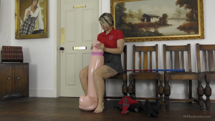 St Mackenzie's Dolli Silver: Sexy School Girl Dolli Strips While Playing With A Large Inflatable Cock